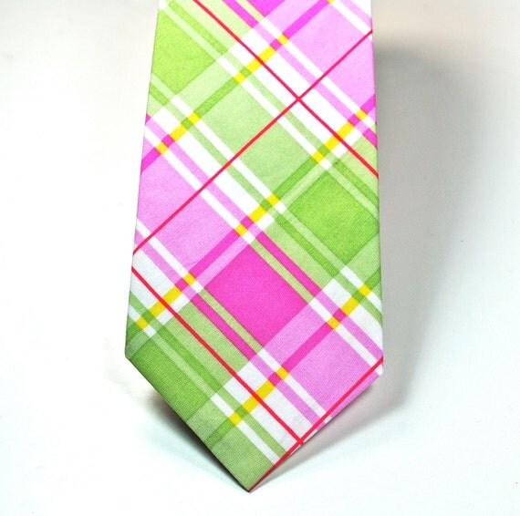 Neckties, Mens Neckties, Boys Neckties,  Green Neckties, Pink and Green Neckties, Neckties, Cotton Neckties, Custom Neckties, Plaid Neckties