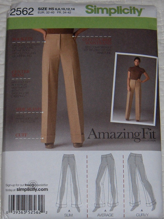 Simplicity Amazing Fit Collection Pants Pattern 2562 Sizes 6-14