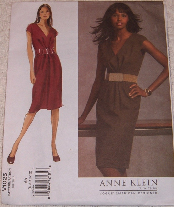 Vogue American Designer Anne Klein Dress with Pleated Bodice Pattern V1025 Sizes 6-12 OOP