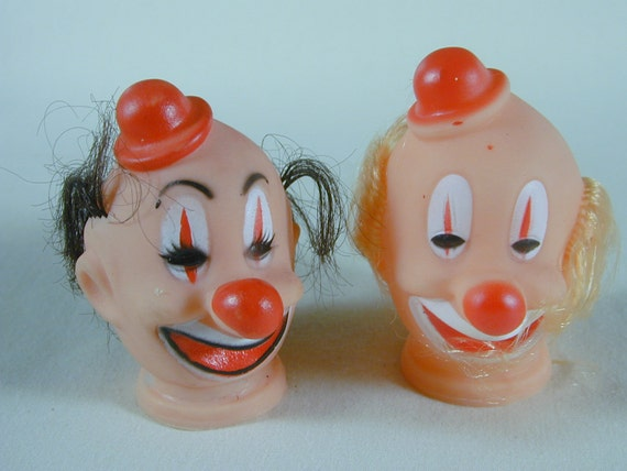 2  Vintage Flexible Plastic Clown Heads with Hair