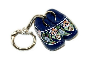 Keychain - Blue Wooden Clog Shoes