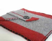 Red and Grey Felted Wool iPad Case/Sleeve