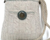 Tan Felted Wool Purse/Vintage Button Eco Friendly