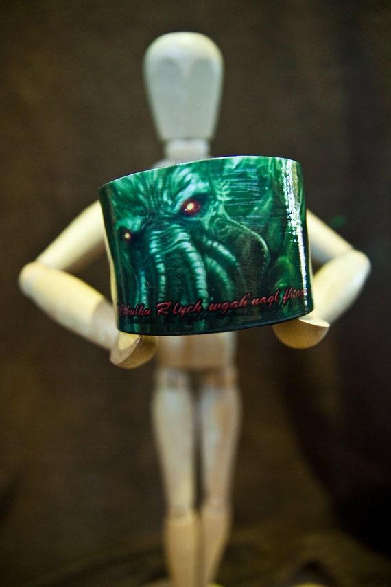 Cthulhu Waits Dreaming Vinyl Record Bracelet