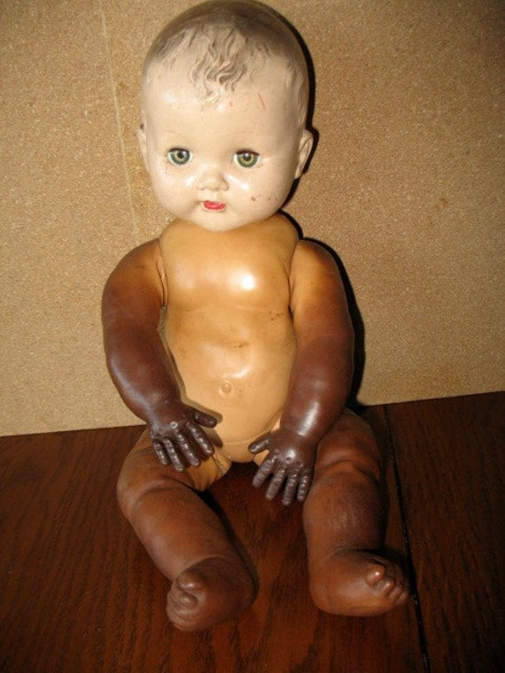 Vintage Magic Skin Baby Doll With Hard Plastic Head By Ourattic