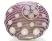 Lampwork glass focal bead- purple and blue- stripes- flower- polka dots- artisan made bead- Aloha Flower in Blue Purple- artisan lampwork