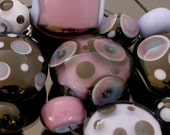 Lampwork Glass Bead Set of 11 purple, black and periwinkle, focal beads and spacers, dots and polka dots, with bubbles