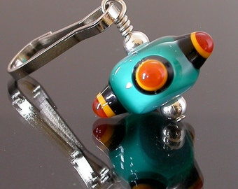 Zipper Pull, handmade lampwork glass bead, teal green, black, golden yellow and rust brown,charm for purses, jackets, back packs and wallets