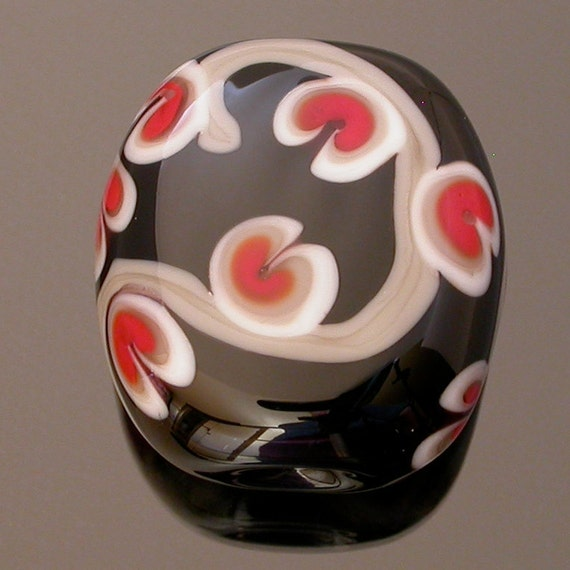 Lampwork glass bead, large tabular shaped focal, Sprout- black,grey,red and white