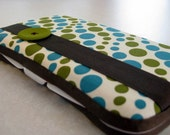 Boutique Baby Wipes Case in Turquoise/Olive Dots