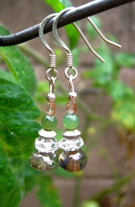 Dewdrop Shimmer Earrings -- One-of-a-Kind, w Delicate Morsels of Jade, Glass, Silver, & Crystal //  Proceeds Aid Lupus Foundation