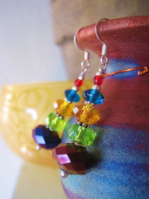 Laura's Rainbow Sparkle Earrings -- Crystal On Crystal, Color On Color // FREE Holiday SHIPPING - Your Purchase Benefits Leukemia Society
