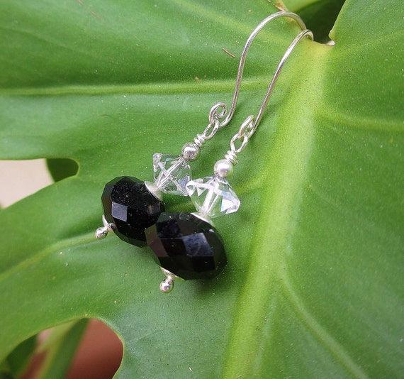 OOAK Black Tie Glam Earrings -- Black Crystals w Vintage Clear Crystals, plus Artisan-Made Sterling Hoops // Proceeds Given to Charity