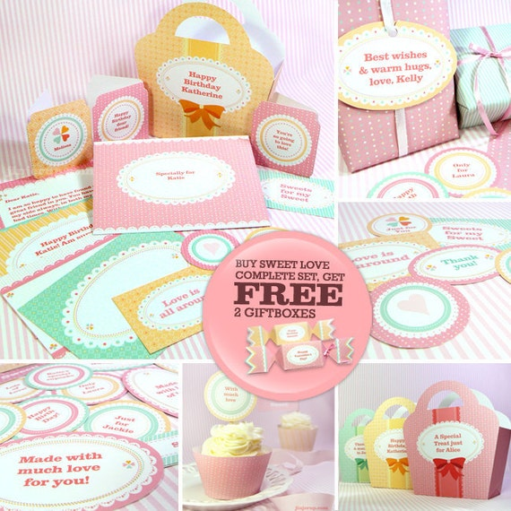 Kawaii Sweet Love Complete Set (with FREE 2 Giftboxes OFFER) Cute Valentine's Day Love Birthday Party Printable PDF