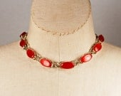 Vintage 1950s Cherry Red Thermoset Oval Link Lattice Choker Necklace