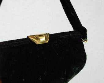 Vintage 40s Garay Black Velvet Evening Handbag Purse