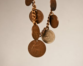 Vintage 1920s 1930s Coin Charm Bracelet