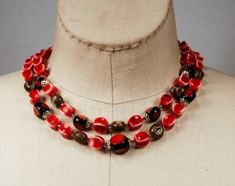 Vitnage Unusual Double Strand Choker Necklace Earthy Reds Signed Japan