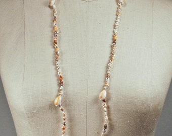 Vintage Dove Shell and Beige Ring Cowrie Strand Necklace
