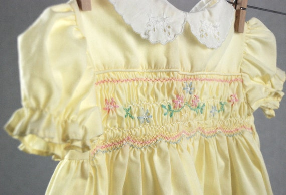 Vintage Polly Flinders Smocked Pale Yellow Dress 12 Months