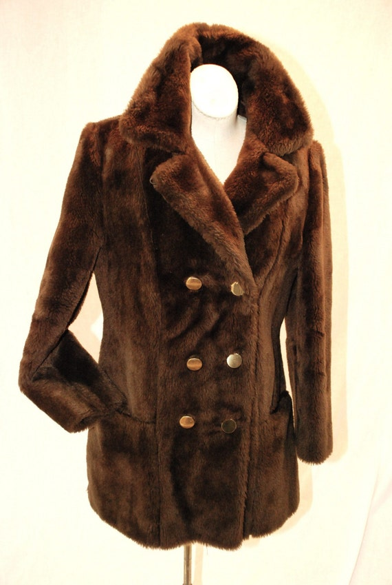 Vintage Early 70s Brown Teddy Bear Plush Faux Fur Pea Coat