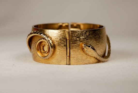 1963 Signed Whiting and Davis Serpent Hinged Bracelet from the Jewels of Cleopatra Collection