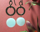 Copper Mist Jade Earrings, Milky Green Jade Coins with Hammered Copper Rings