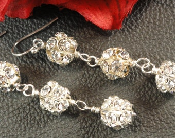 Simply Stunning Triple Rhinestone Silver Earrings