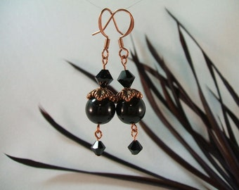 Autumn Leaves Swarovski Crystals and Pearls Black and Copper Earrings, Free Shipping