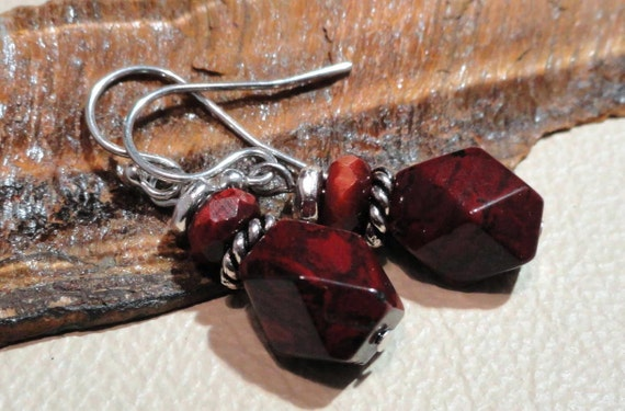 Colors of the Season - Brecciated Jasper, Faceted Tiger Iron and Pewter Earrings