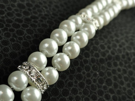 Double Strand White Pearl and Rhinestone Bracelet, Sterling Silver Clasp
