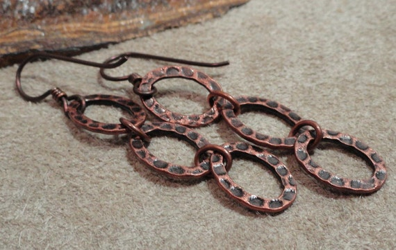 Hammered Copper Triple Oval Earrings