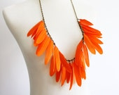 Neon Orange - Statement Feather Necklace