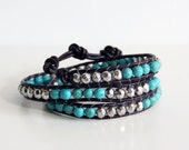 Last few left - Chan Luu Inspired Boho Chic Leather Wrap - Genuine Turquoise and Silver Three Wrap Bracelet