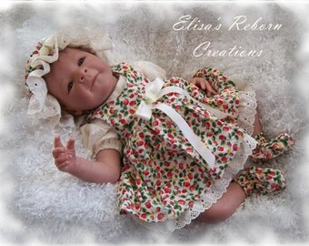 STRAWBERRIES Pinafore and Ivory Eyelet Dress Set for 19-20 inch newborn sized reborn baby dolls