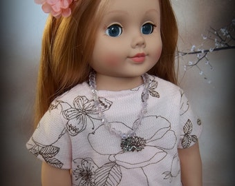 """Outfit for 18"""" American Girl - Knit shirt, jeans, necklace, hair flower"""