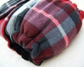 Lumberjack Plaid with Black Cotton Velour Fitted Cloth Diaper - OSFM One Size Fits Most - KNIT