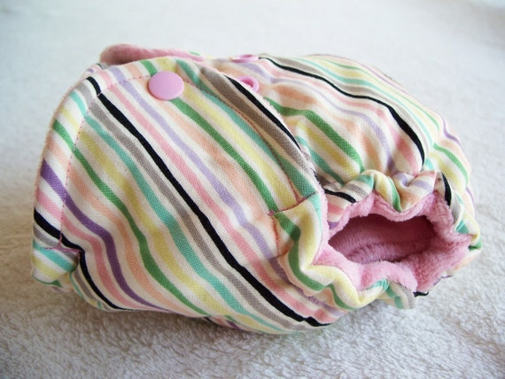 Diagonal Pastel Stripes with Pink Cotton Velour Inner - Newborn Fitted Diaper - WOVEN