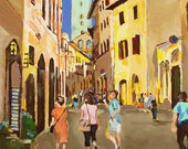 Torre Original Acrylic Painting on Canvas Italy Tuscany Medieval Buildings Tower Tourists