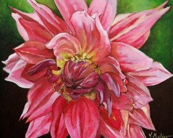 Acrylic Painting Pink Fantasy Original Flower