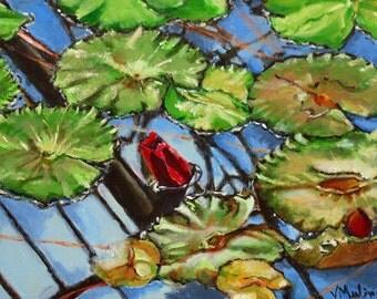 Acrylic Painting Waterlily Pond Original Art