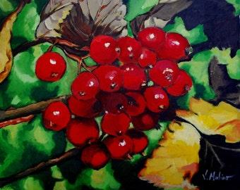 Acrylic Painting 16x20 Red Fruit Berries Original Artwork