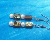 Abalone Paua shell and faux glass Pearl Earrings