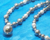 Silver Faux Pearl Necklace