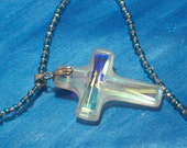 Glass Cross Necklace strung on blue and silver seedbeads