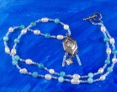 Necklace Blue and White Freshwater Pearl Beaded Silver Vintage Pendant N-F2011-0004