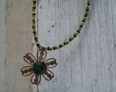 Beaded Necklace Black and Gold with Vintage Gold and Green Stone Flower Pendant N-S2012-0001