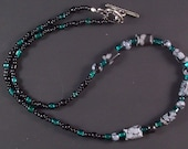 Necklace and Stretch Bracelet Set- Emerald and Black Obsidian Gemstone S-S2012-0001
