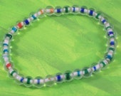 Clear and Multicolored Glass Beaded Stretch Bracelet Medium