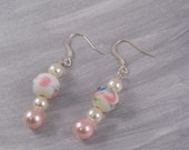 Beaded Earrings Pink Flower Ceramic and Glass Pearl
